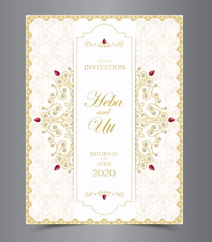 Wedding Or Invitation Card Vintage Style With Crystals