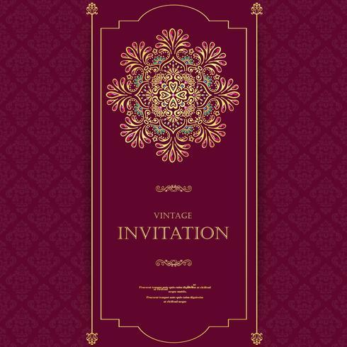 Bröllop eller inbjudningskort vintage stil med kristaller abstrakt mönster bakgrund