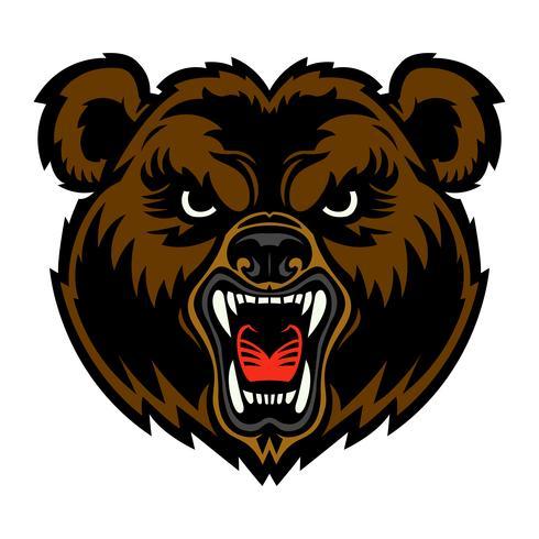 Urso com raiva cara dos desenhos animados