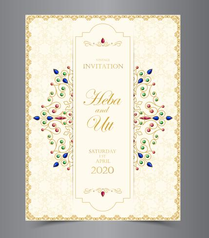 Wedding or invitation card  vintage style  with  crystals  abstract pattern background