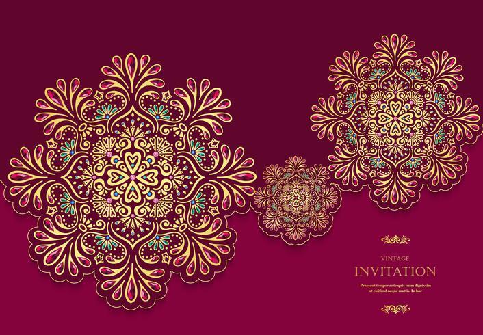 Estilo vintage de tarjeta de boda o invitación con fondo de patrón abstracto de cristales