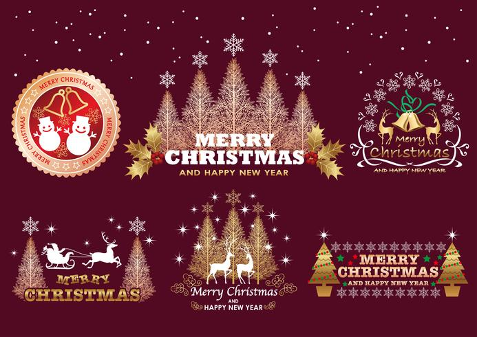 Set of Christmas badges/labels on a dark background.