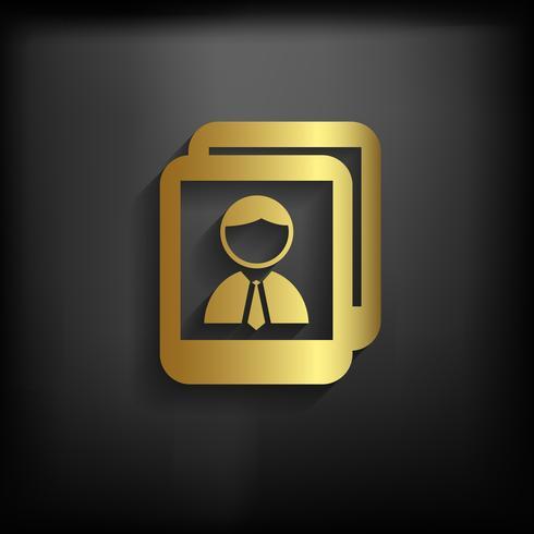 Foto simbolo di colore oro con una lunga ombra, illustrazione vettoriale EPS10