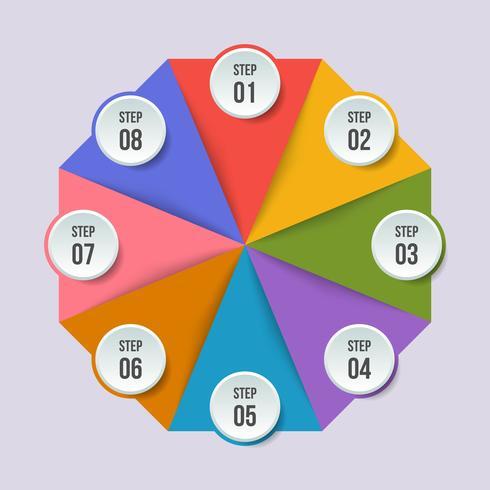 Grafico a cerchio, infografica geometrica con forma triangolare