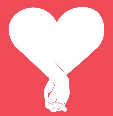 Hand, die eine andere Hand, Zeichen des Liebeskunstvektors hält