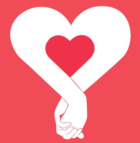 hand holding another hand , sign of love art vector