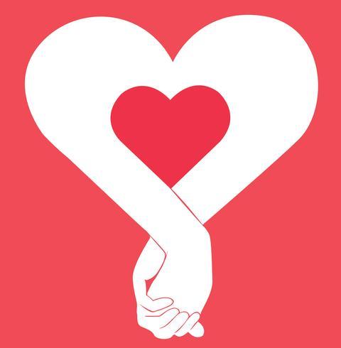 hand met een andere hand, teken van liefde kunst vector