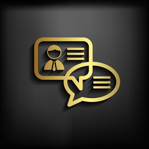 Chat ikonskylt med guldfärg, vektor EPS10 illustration