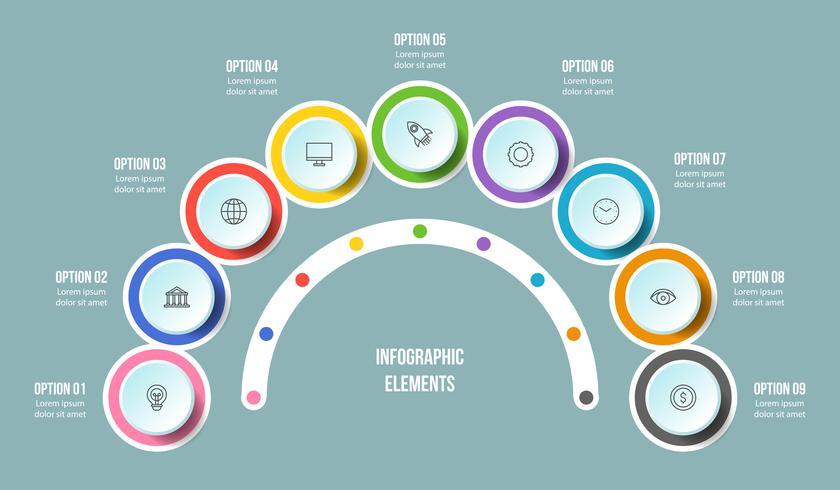 Gráfico de medio círculo, plantillas de infografía Timeline vector