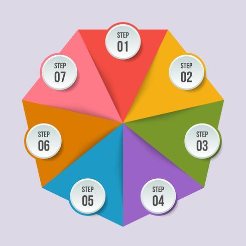 Gráfico de círculo, infografía geométrica con forma de triángulo