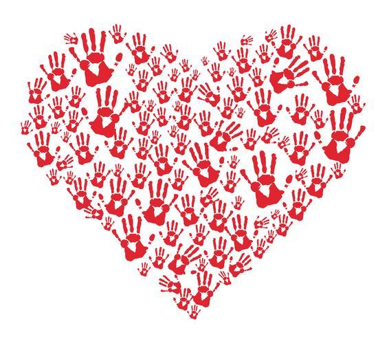 empreintes de mains rouges dans le coeur