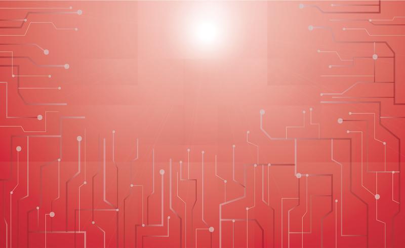 fundo de tecnologia de microchip vermelho vetor