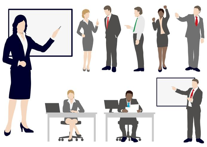 Set of business people in flat style. vector