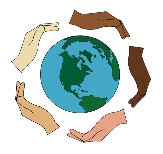 all hands hold the world vector