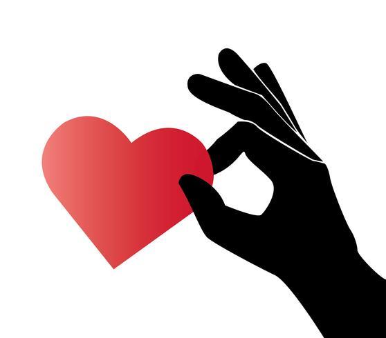 mano sosteniendo vector de arte de corazón