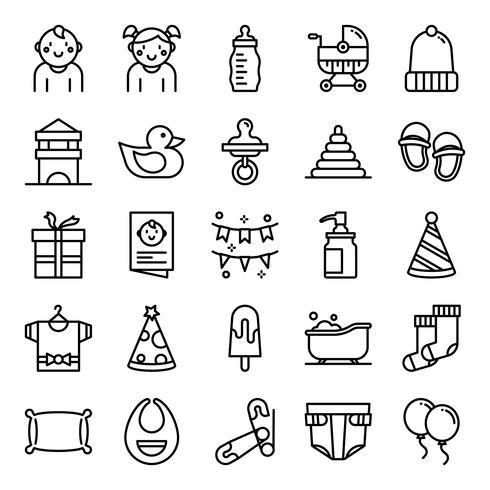 Baby shower pictogrammen pack vector