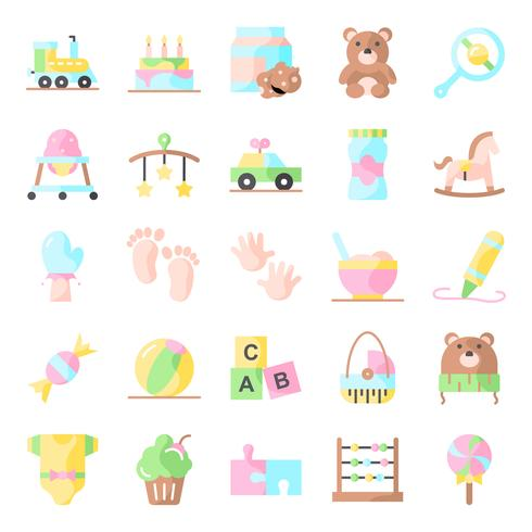 Baby shower pictogrammen pack vector