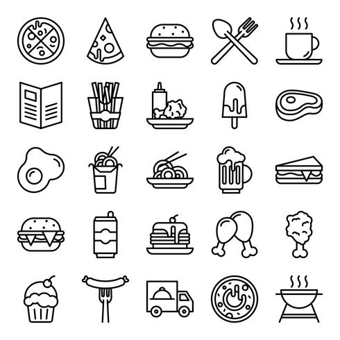 Fast food icons pack vector