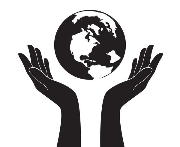 handen met wereld vector