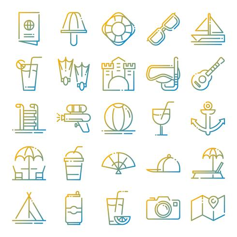 Zomer pictogrammen pack vector