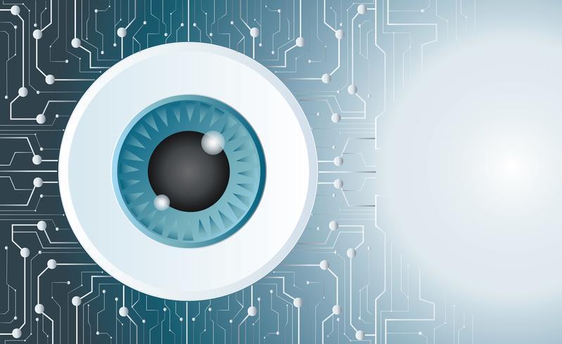 Augapfel Vektor Mikrochip Technologie Hintergrund