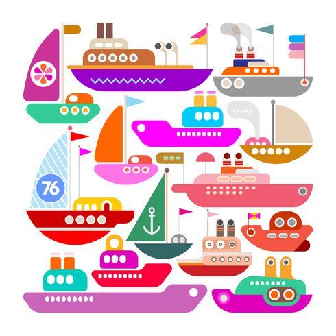Navios, iates e barcos vector ícone do design