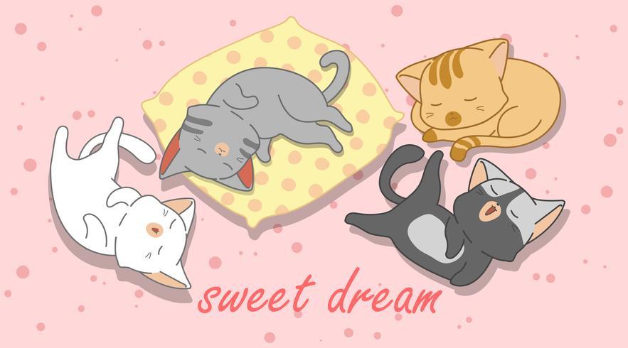 4 gatitos están durmiendo.