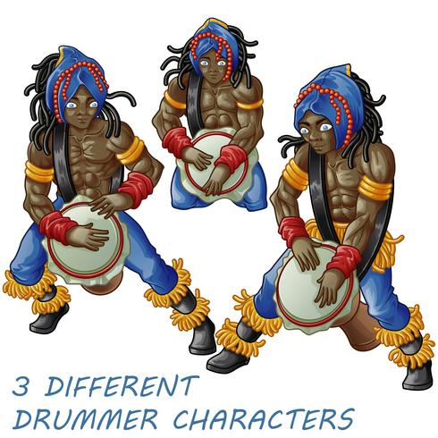 3 drummerpersonages. vector