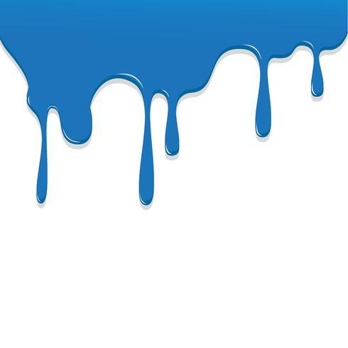 Peinture couleur bleu dégoulinant, illustration vectorielle couleur fond transparent