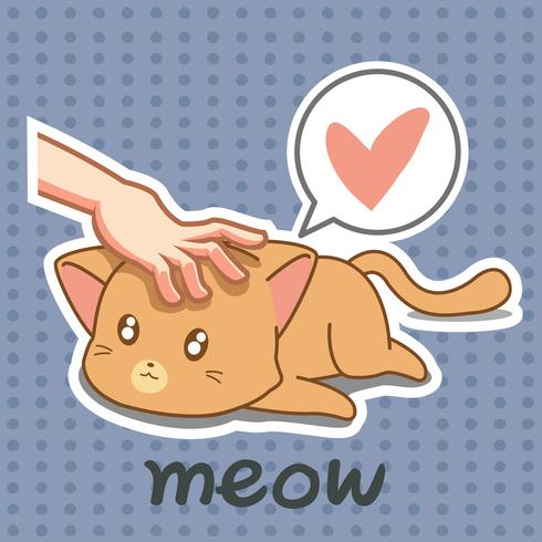 Iemand raakt mooie kat. vector