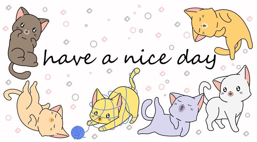 6 gatitos de dibujos animados.
