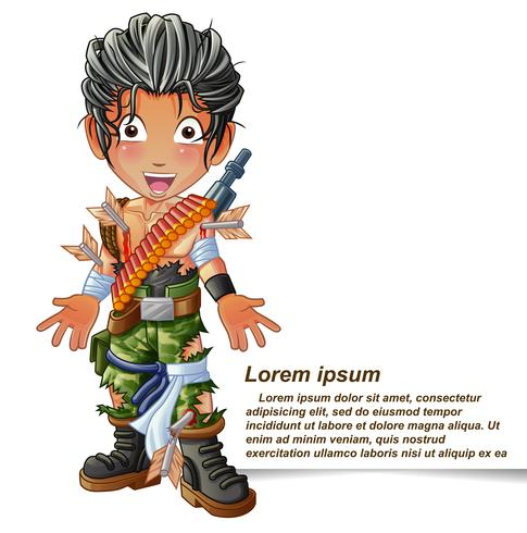 Personnage de soldat en style cartoon. vecteur