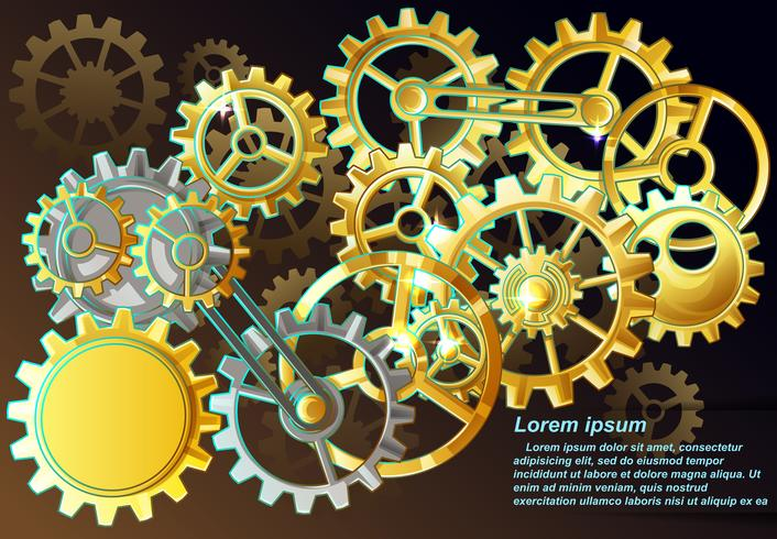 Many of gear with brown background in steampunk style. vector