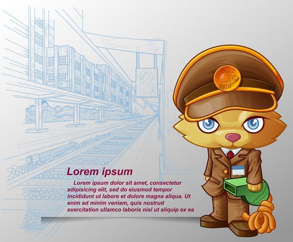 Tågpersonal katt bär grön visselpipa i tecknad stil och skissad plattformsbakgrund.
