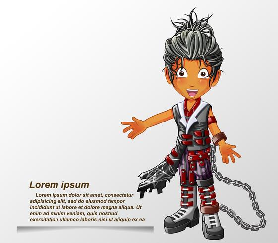 Punk fashion character in cartoon style.