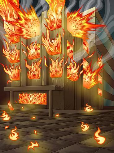 Das Gebäude brennt. vektor