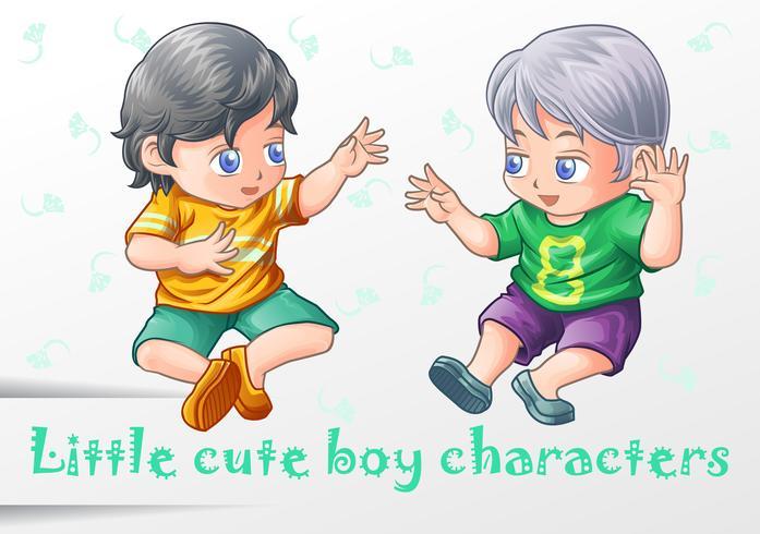 2 pequeños personajes de chico lindo. vector