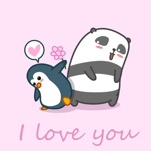 Il pinguino dà il fiore al panda.