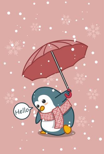 Penguin håller paraply i tecknad stil.