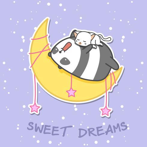 Panda und Katze schlafen auf dem Mond.