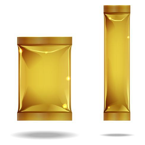 2 pacotes dourados diferentes. vetor