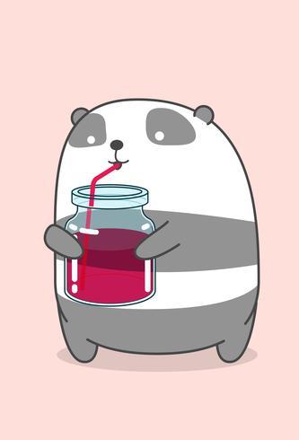 Panda está bebiendo refrescos. vector