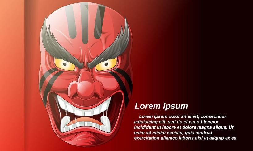 Masque japonais sur fond rouge en style cartoon.