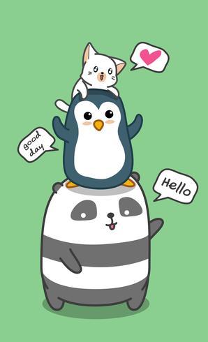 Cute animals family. vector