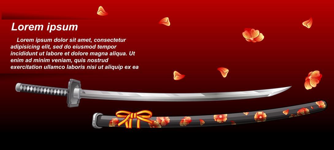 Espada japonesa en estilo de dibujos animados. vector