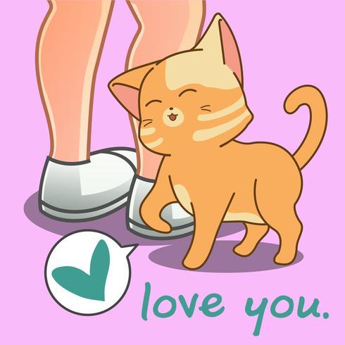 De mooie kat houdt van je.