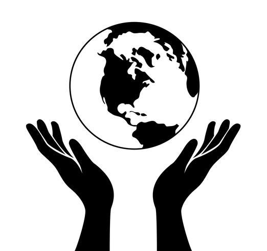 hand houdt de wereld vast vector