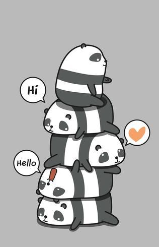 5 personagens fofos de panda.