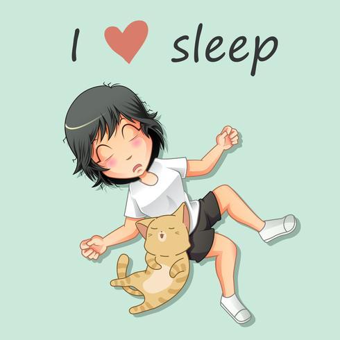 Ragazza e gatto stanno dormendo.
