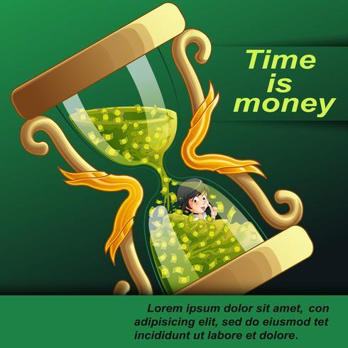 El tiempo es dinero concepto en estilo de dibujos animados. vector
